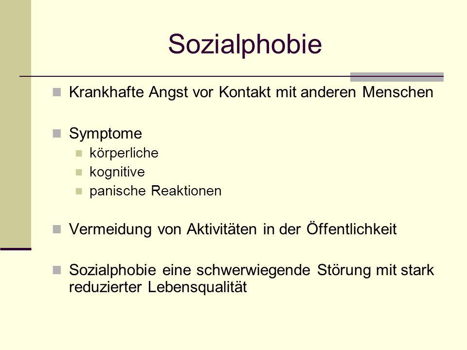 Sozialphobie Krankhafte Angst vor Kontakt mit anderen Menschen Symptome körperliche kognitive panische Reaktionen Vermeidung von Aktivitäten in der Öf