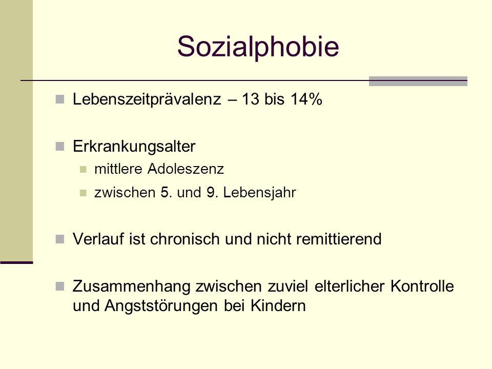 Sozialphobie Lebenszeitprävalenz – 13 bis 14% Erkrankungsalter mittlere Adoleszenz zwischen 5. und 9. Lebensjahr Verlauf ist chronisch und nicht remit