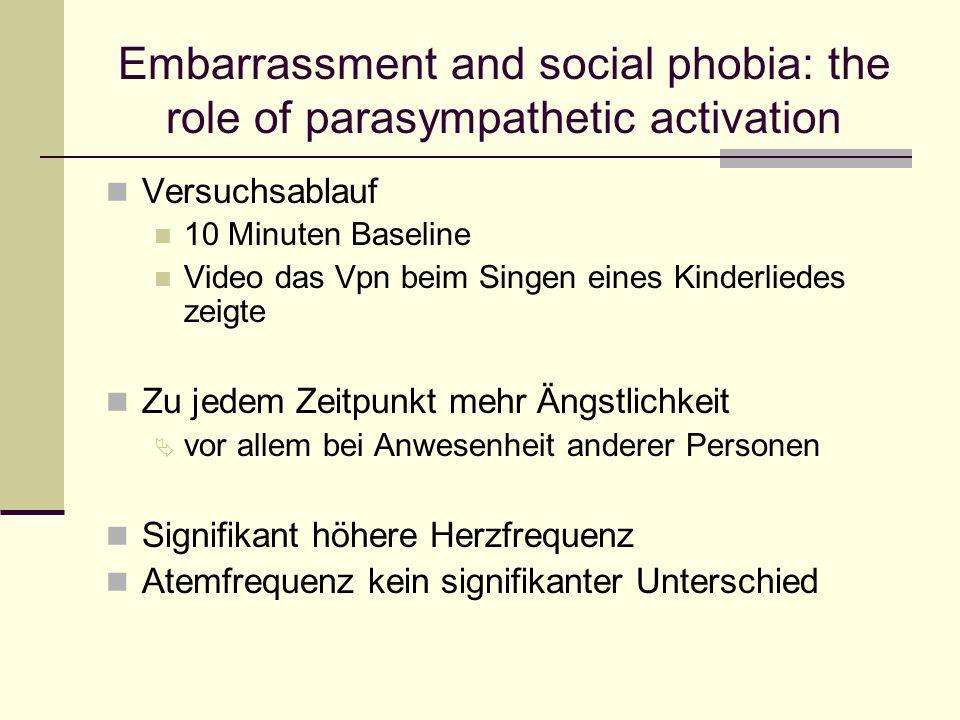 Embarrassment and social phobia: the role of parasympathetic activation Versuchsablauf 10 Minuten Baseline Video das Vpn beim Singen eines Kinderliede