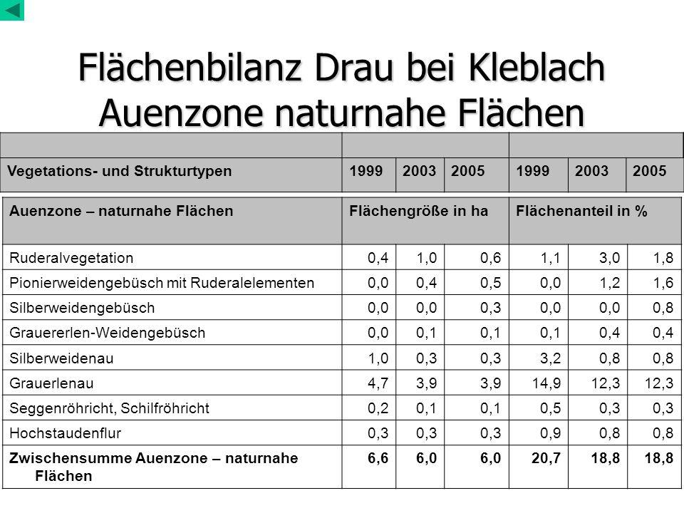 Flächenbilanz Drau bei Kleblach Auenzone naturnahe Flächen Auenzone – naturnahe FlächenFlächengröße in haFlächenanteil in % Ruderalvegetation0,41,00,6