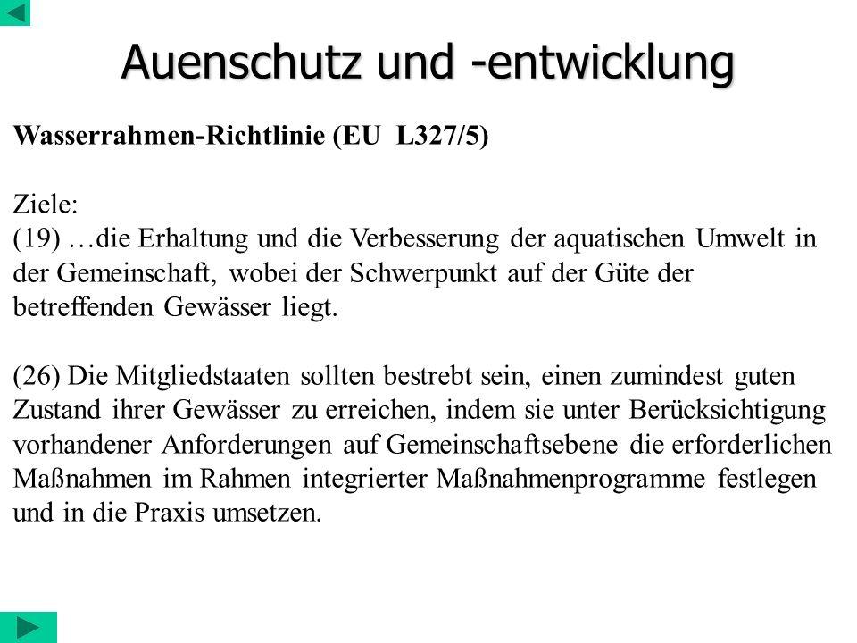 Auenschutz und -entwicklung Wasserrahmen-Richtlinie (EU L327/5) Ziele: (19) …die Erhaltung und die Verbesserung der aquatischen Umwelt in der Gemeinsc