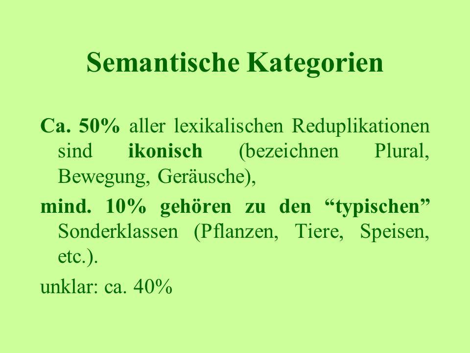 Semantische Kategorien Ca. 50% aller lexikalischen Reduplikationen sind ikonisch (bezeichnen Plural, Bewegung, Geräusche), mind. 10% gehören zu den ty