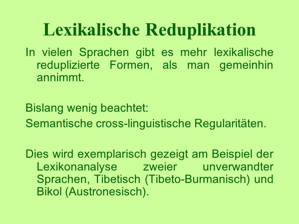Lexikalische Reduplikation In vielen Sprachen gibt es mehr lexikalische reduplizierte Formen, als man gemeinhin annimmt.