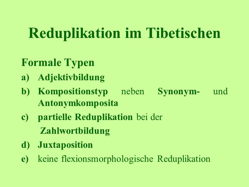 Reduplikation im Tibetischen Formale Typen a)Adjektivbildung b)Kompositionstyp neben Synonym- und Antonymkomposita c)partielle Reduplikation bei der Zahlwortbildung d)Juxtaposition e)keine flexionsmorphologische Reduplikation