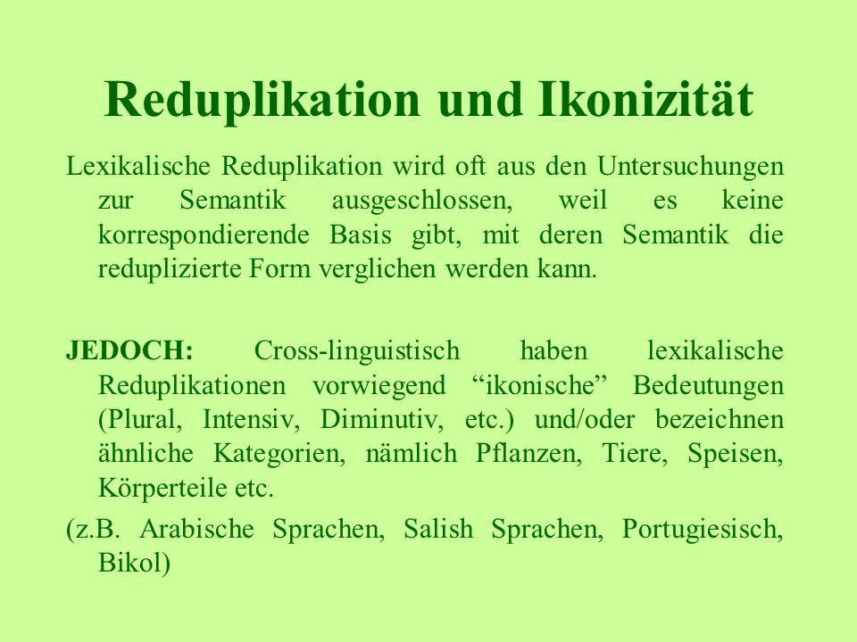 Reduplikation und Ikonizität Lexikalische Reduplikation wird oft aus den Untersuchungen zur Semantik ausgeschlossen, weil es keine korrespondierende Basis gibt, mit deren Semantik die reduplizierte Form verglichen werden kann.
