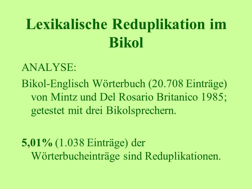 Lexikalische Reduplikation im Bikol ANALYSE: Bikol-Englisch Wörterbuch (20.708 Einträge) von Mintz und Del Rosario Britanico 1985; getestet mit drei Bikolsprechern.