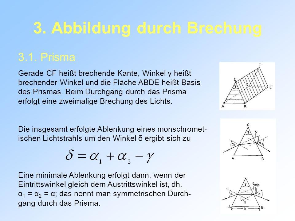 3. Abbildung durch Brechung 3.1. Prisma Gerade CF heißt brechende Kante, Winkel γ heißt brechender Winkel und die Fläche ABDE heißt Basis des Prismas.