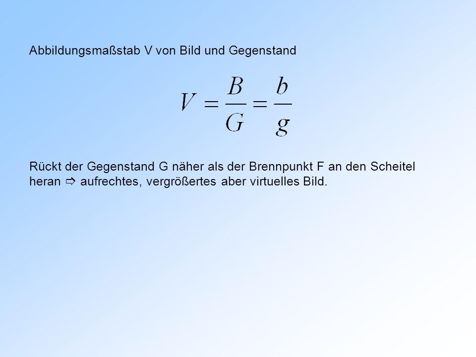 Abbildungsmaßstab V von Bild und Gegenstand Rückt der Gegenstand G näher als der Brennpunkt F an den Scheitel heran aufrechtes, vergrößertes aber virt