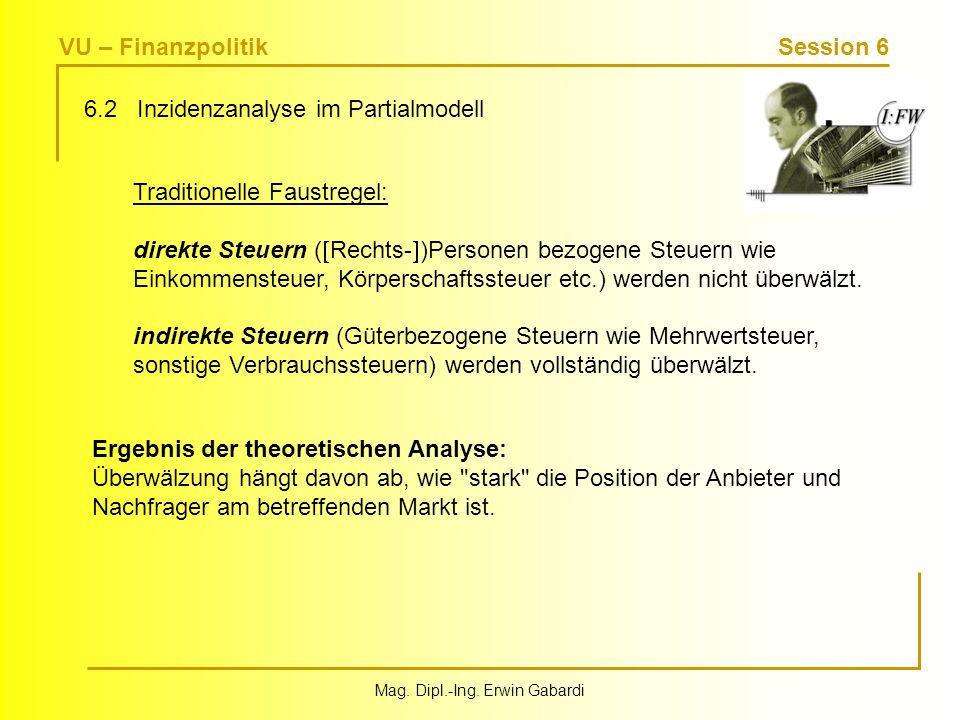 VU – Finanzpolitik Session 6 Mag. Dipl.-Ing. Erwin Gabardi 6.2 Inzidenzanalyse im Partialmodell Traditionelle Faustregel: direkte Steuern ( Rechts- )P