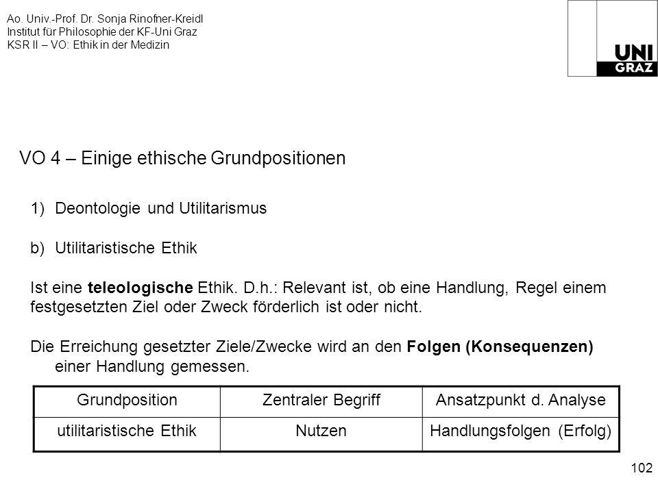 Ao. Univ.-Prof. Dr. Sonja Rinofner-Kreidl Institut für Philosophie der KF-Uni Graz KSR II – VO: Ethik in der Medizin 102 VO 4 – Einige ethische Grundp