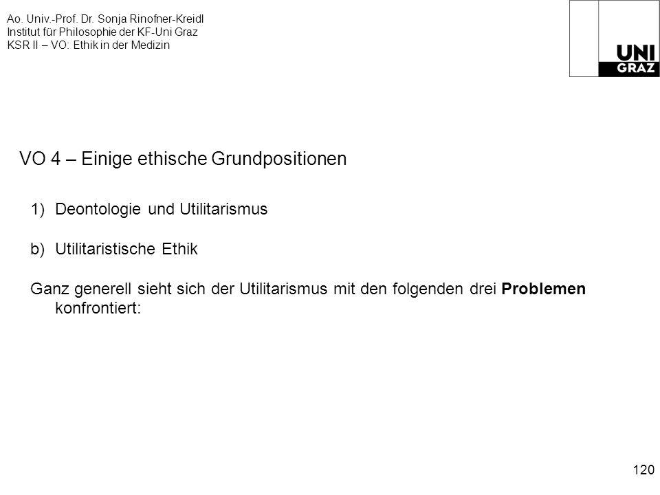 Ao. Univ.-Prof. Dr. Sonja Rinofner-Kreidl Institut für Philosophie der KF-Uni Graz KSR II – VO: Ethik in der Medizin 120 VO 4 – Einige ethische Grundp