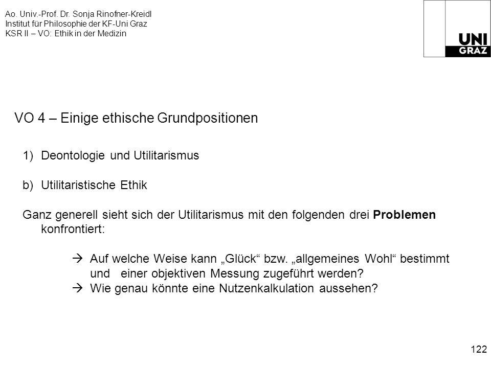 Ao. Univ.-Prof. Dr. Sonja Rinofner-Kreidl Institut für Philosophie der KF-Uni Graz KSR II – VO: Ethik in der Medizin 122 VO 4 – Einige ethische Grundp