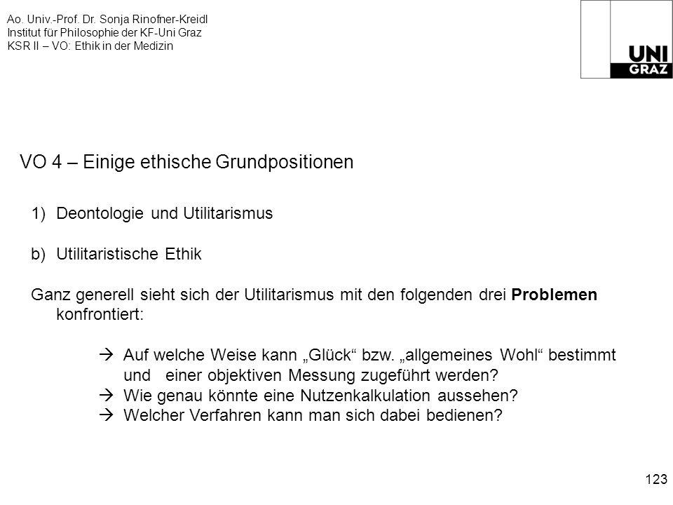 Ao. Univ.-Prof. Dr. Sonja Rinofner-Kreidl Institut für Philosophie der KF-Uni Graz KSR II – VO: Ethik in der Medizin 123 VO 4 – Einige ethische Grundp