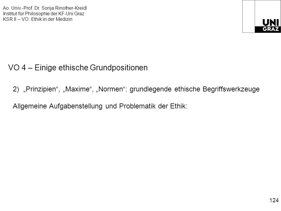 Ao. Univ.-Prof. Dr. Sonja Rinofner-Kreidl Institut für Philosophie der KF-Uni Graz KSR II – VO: Ethik in der Medizin 124 VO 4 – Einige ethische Grundp