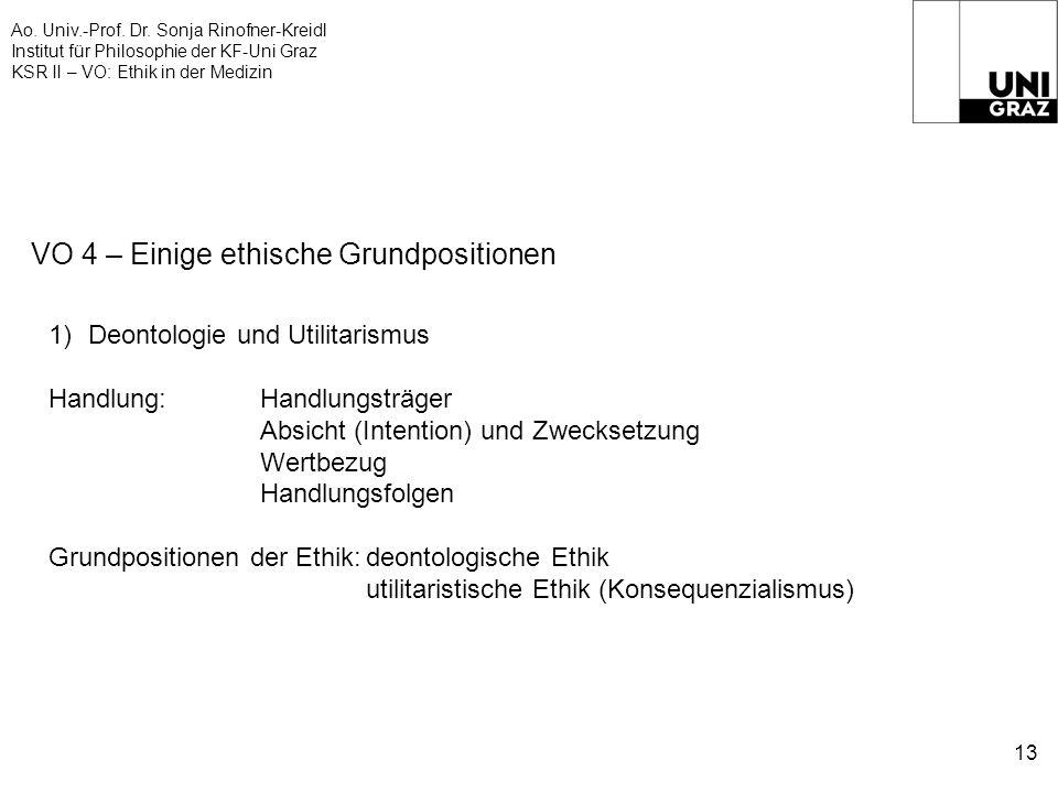 Ao. Univ.-Prof. Dr. Sonja Rinofner-Kreidl Institut für Philosophie der KF-Uni Graz KSR II – VO: Ethik in der Medizin 13 VO 4 – Einige ethische Grundpo