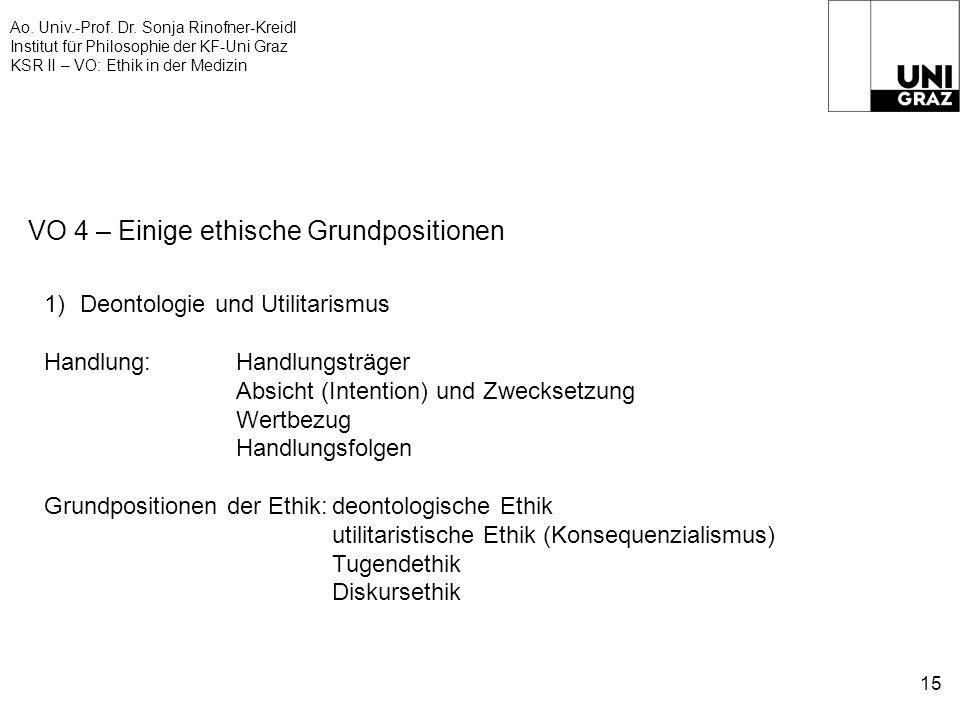 Ao. Univ.-Prof. Dr. Sonja Rinofner-Kreidl Institut für Philosophie der KF-Uni Graz KSR II – VO: Ethik in der Medizin 15 VO 4 – Einige ethische Grundpo