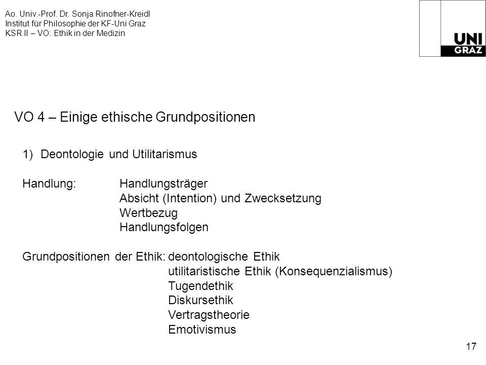 Ao. Univ.-Prof. Dr. Sonja Rinofner-Kreidl Institut für Philosophie der KF-Uni Graz KSR II – VO: Ethik in der Medizin 17 VO 4 – Einige ethische Grundpo