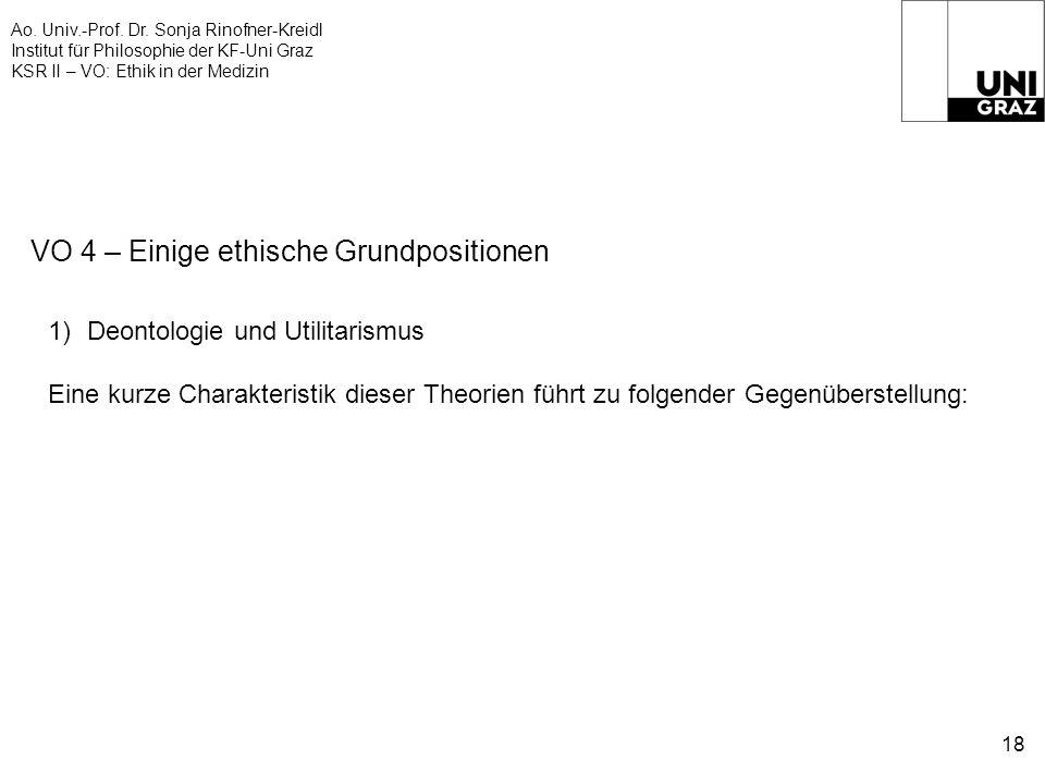 Ao. Univ.-Prof. Dr. Sonja Rinofner-Kreidl Institut für Philosophie der KF-Uni Graz KSR II – VO: Ethik in der Medizin 18 VO 4 – Einige ethische Grundpo