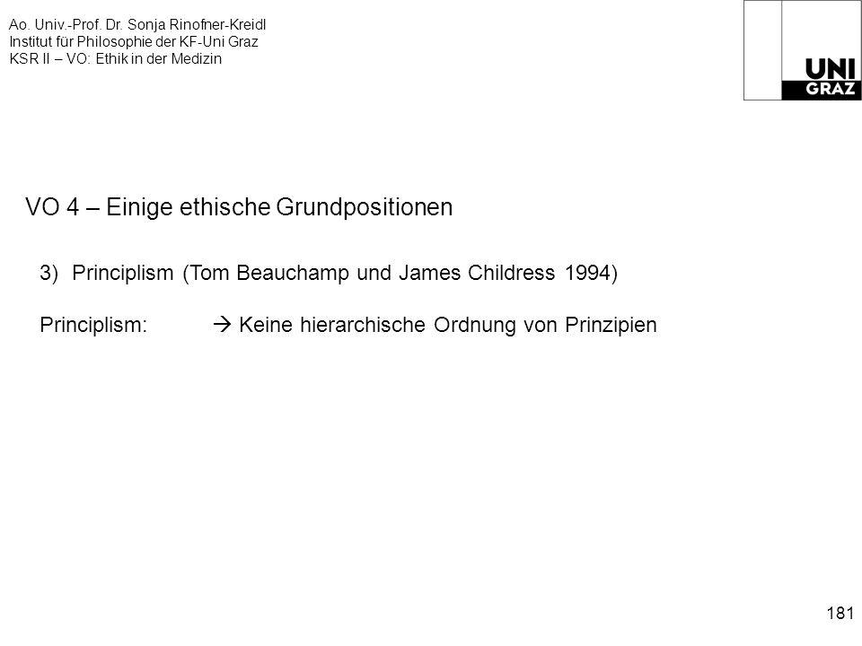 Ao. Univ.-Prof. Dr. Sonja Rinofner-Kreidl Institut für Philosophie der KF-Uni Graz KSR II – VO: Ethik in der Medizin 181 VO 4 – Einige ethische Grundp