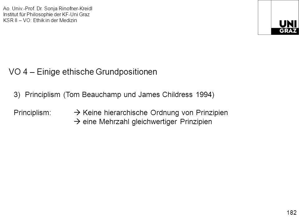 Ao. Univ.-Prof. Dr. Sonja Rinofner-Kreidl Institut für Philosophie der KF-Uni Graz KSR II – VO: Ethik in der Medizin 182 VO 4 – Einige ethische Grundp