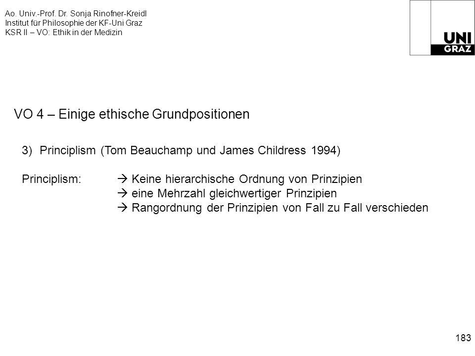 Ao. Univ.-Prof. Dr. Sonja Rinofner-Kreidl Institut für Philosophie der KF-Uni Graz KSR II – VO: Ethik in der Medizin 183 VO 4 – Einige ethische Grundp