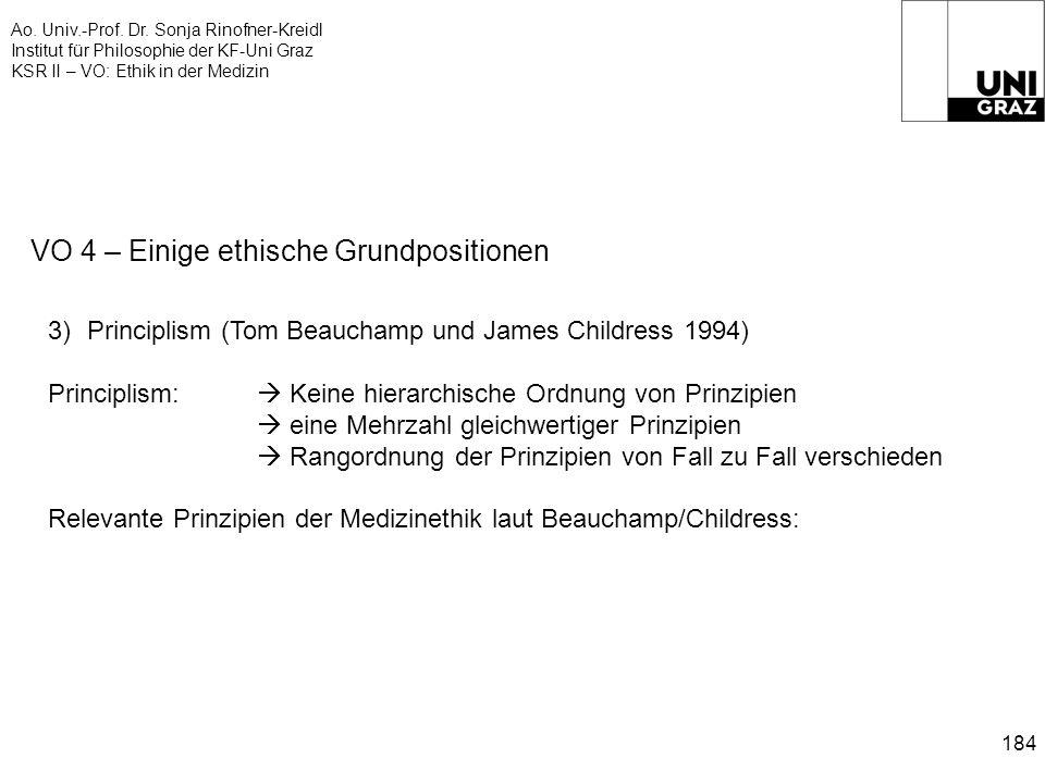 Ao. Univ.-Prof. Dr. Sonja Rinofner-Kreidl Institut für Philosophie der KF-Uni Graz KSR II – VO: Ethik in der Medizin 184 VO 4 – Einige ethische Grundp