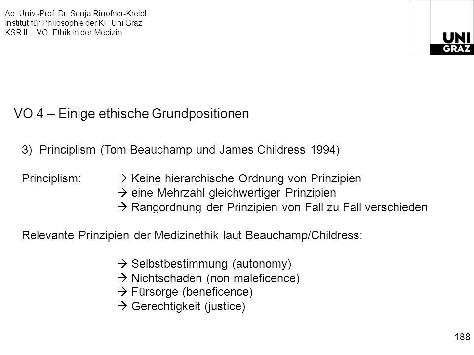 Ao. Univ.-Prof. Dr. Sonja Rinofner-Kreidl Institut für Philosophie der KF-Uni Graz KSR II – VO: Ethik in der Medizin 188 VO 4 – Einige ethische Grundp