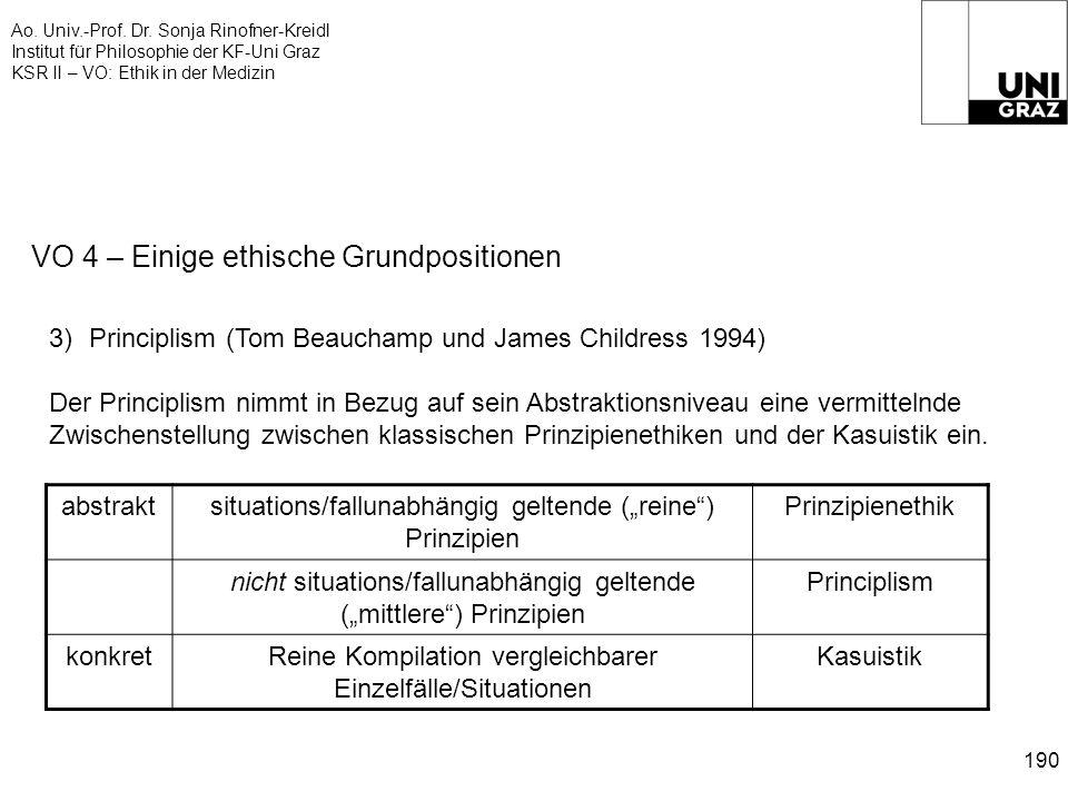 Ao. Univ.-Prof. Dr. Sonja Rinofner-Kreidl Institut für Philosophie der KF-Uni Graz KSR II – VO: Ethik in der Medizin 190 VO 4 – Einige ethische Grundp