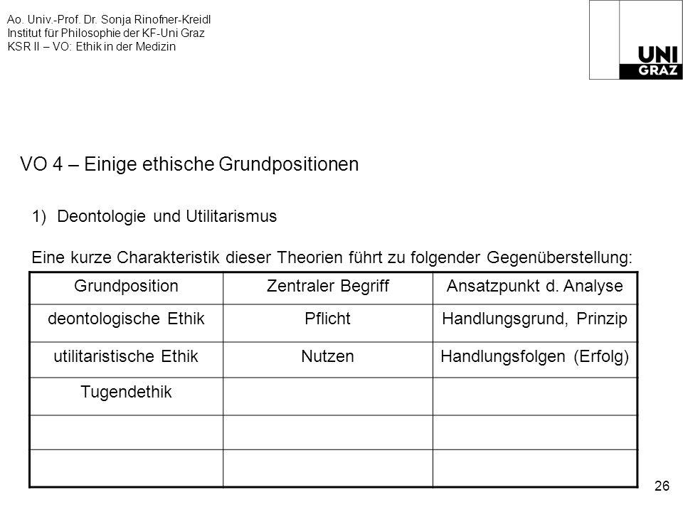 Ao. Univ.-Prof. Dr. Sonja Rinofner-Kreidl Institut für Philosophie der KF-Uni Graz KSR II – VO: Ethik in der Medizin 26 VO 4 – Einige ethische Grundpo