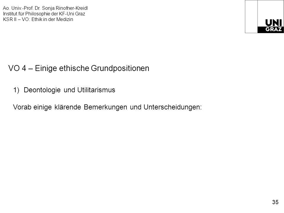 Ao. Univ.-Prof. Dr. Sonja Rinofner-Kreidl Institut für Philosophie der KF-Uni Graz KSR II – VO: Ethik in der Medizin 35 VO 4 – Einige ethische Grundpo