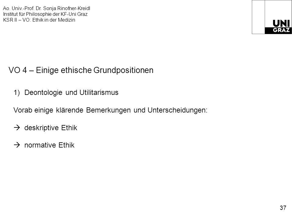 Ao. Univ.-Prof. Dr. Sonja Rinofner-Kreidl Institut für Philosophie der KF-Uni Graz KSR II – VO: Ethik in der Medizin 37 VO 4 – Einige ethische Grundpo