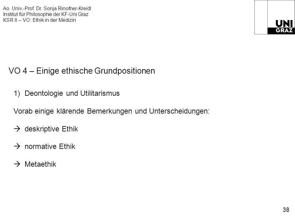 Ao. Univ.-Prof. Dr. Sonja Rinofner-Kreidl Institut für Philosophie der KF-Uni Graz KSR II – VO: Ethik in der Medizin 38 VO 4 – Einige ethische Grundpo