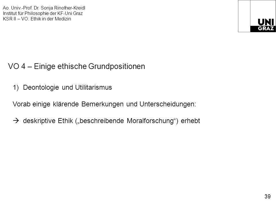 Ao. Univ.-Prof. Dr. Sonja Rinofner-Kreidl Institut für Philosophie der KF-Uni Graz KSR II – VO: Ethik in der Medizin 39 VO 4 – Einige ethische Grundpo