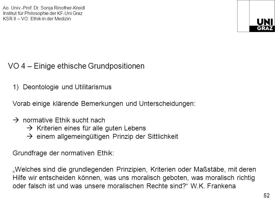 Ao. Univ.-Prof. Dr. Sonja Rinofner-Kreidl Institut für Philosophie der KF-Uni Graz KSR II – VO: Ethik in der Medizin 52 VO 4 – Einige ethische Grundpo
