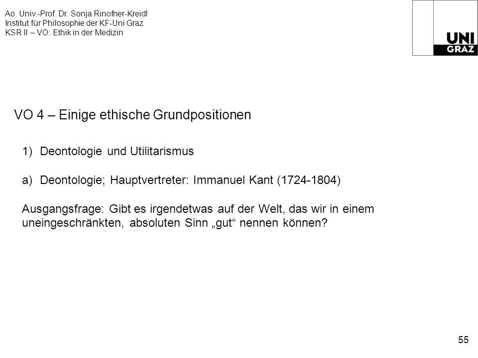 Ao. Univ.-Prof. Dr. Sonja Rinofner-Kreidl Institut für Philosophie der KF-Uni Graz KSR II – VO: Ethik in der Medizin 55 VO 4 – Einige ethische Grundpo