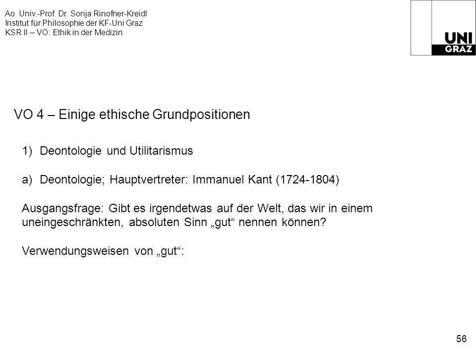 Ao. Univ.-Prof. Dr. Sonja Rinofner-Kreidl Institut für Philosophie der KF-Uni Graz KSR II – VO: Ethik in der Medizin 56 VO 4 – Einige ethische Grundpo