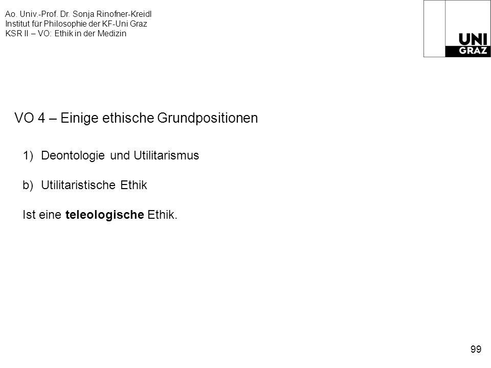 Ao. Univ.-Prof. Dr. Sonja Rinofner-Kreidl Institut für Philosophie der KF-Uni Graz KSR II – VO: Ethik in der Medizin 99 VO 4 – Einige ethische Grundpo