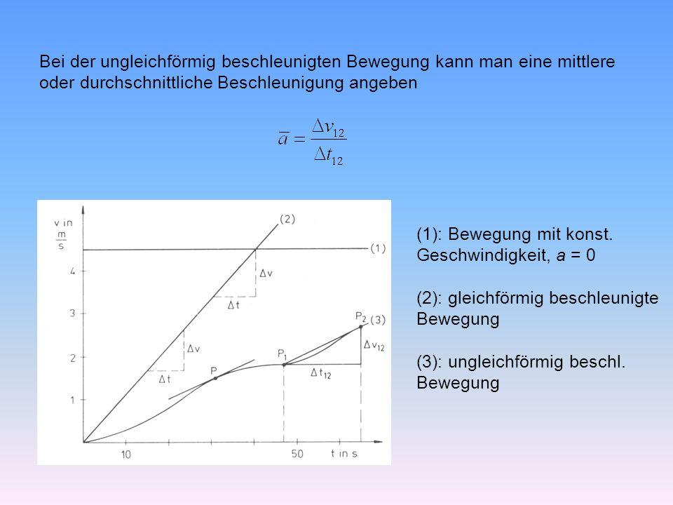 Bei der ungleichförmig beschleunigten Bewegung kann man eine mittlere oder durchschnittliche Beschleunigung angeben (1): Bewegung mit konst.