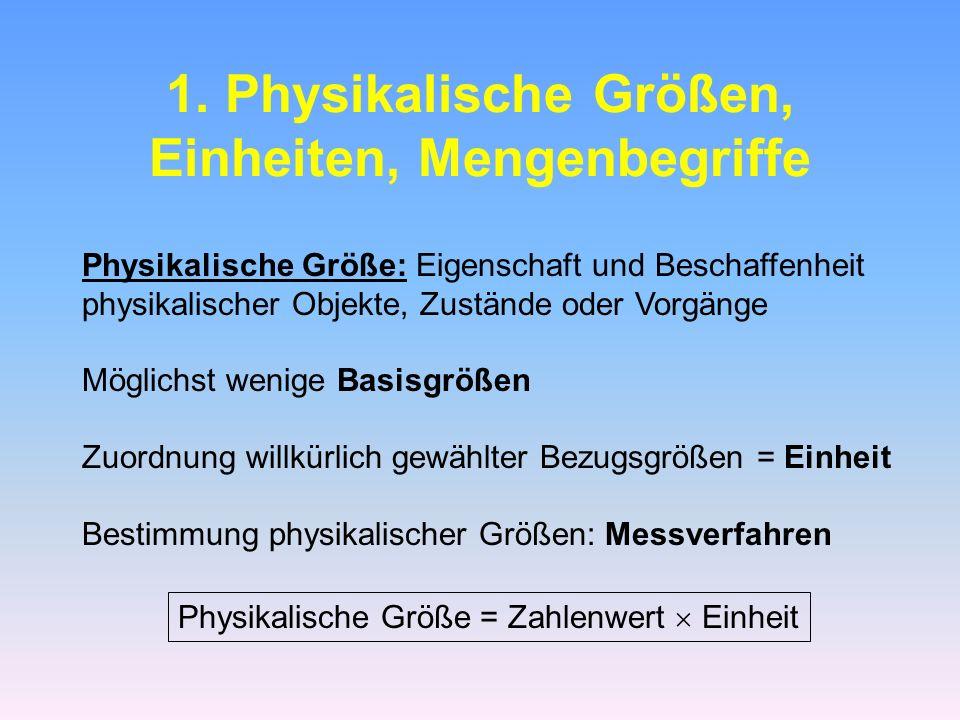 1. Physikalische Größen, Einheiten, Mengenbegriffe Physikalische Größe: Eigenschaft und Beschaffenheit physikalischer Objekte, Zustände oder Vorgänge