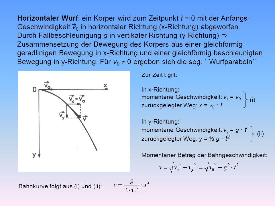 Horizontaler Wurf: ein Körper wird zum Zeitpunkt t = 0 mit der Anfangs- Geschwindigkeit v 0 in horizontaler Richtung (x-Richtung) abgeworfen.