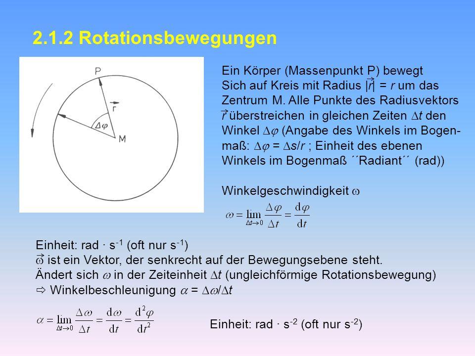 2.1.2 Rotationsbewegungen Ein Körper (Massenpunkt P) bewegt Sich auf Kreis mit Radius |r| = r um das Zentrum M.