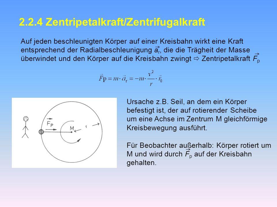 2.2.4 Zentripetalkraft/Zentrifugalkraft Auf jeden beschleunigten Körper auf einer Kreisbahn wirkt eine Kraft entsprechend der Radialbeschleunigung a r, die die Trägheit der Masse überwindet und den Körper auf die Kreisbahn zwingt Zentripetalkraft F p Ursache z.B.