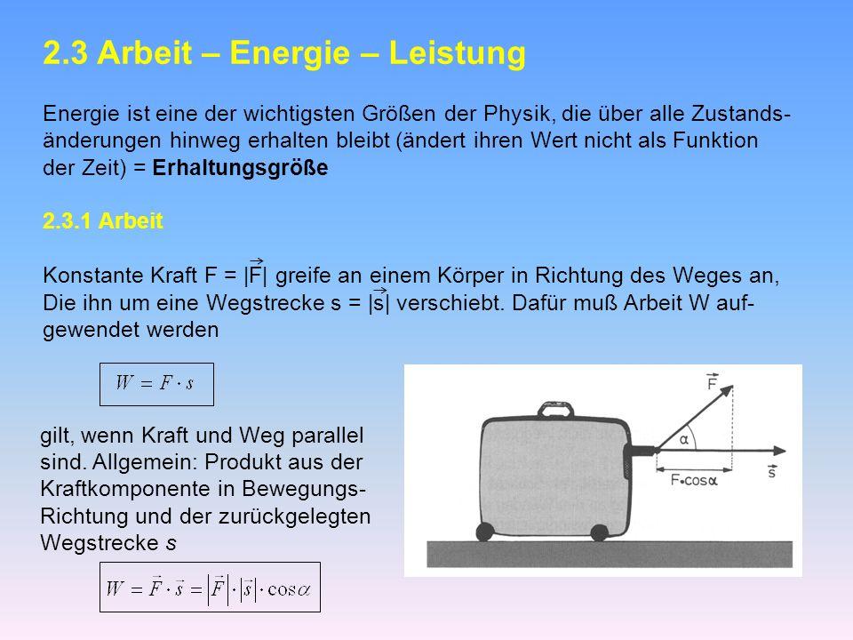2.3 Arbeit – Energie – Leistung Energie ist eine der wichtigsten Größen der Physik, die über alle Zustands- änderungen hinweg erhalten bleibt (ändert ihren Wert nicht als Funktion der Zeit) = Erhaltungsgröße 2.3.1 Arbeit Konstante Kraft F = |F| greife an einem Körper in Richtung des Weges an, Die ihn um eine Wegstrecke s = |s| verschiebt.