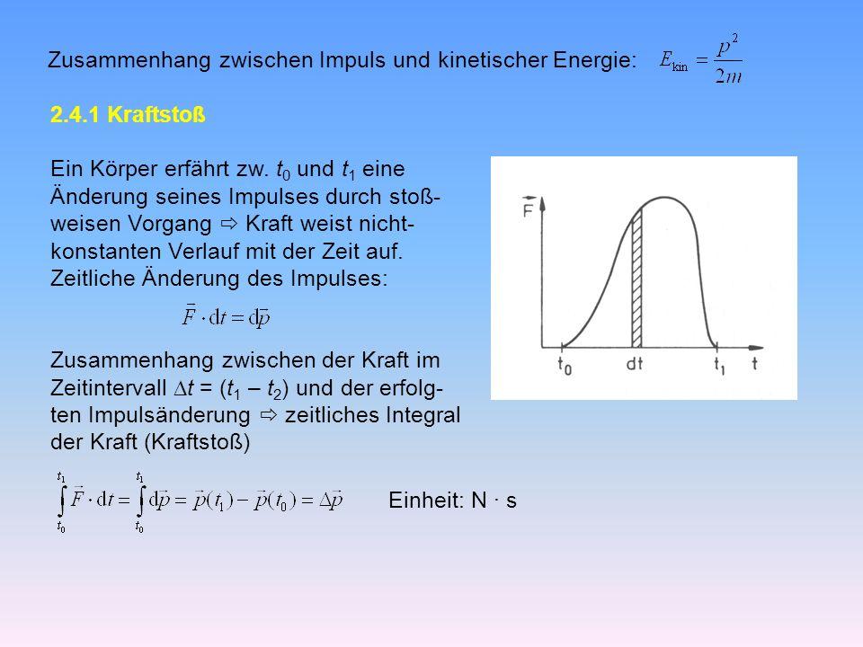 Zusammenhang zwischen Impuls und kinetischer Energie: 2.4.1 Kraftstoß Ein Körper erfährt zw.