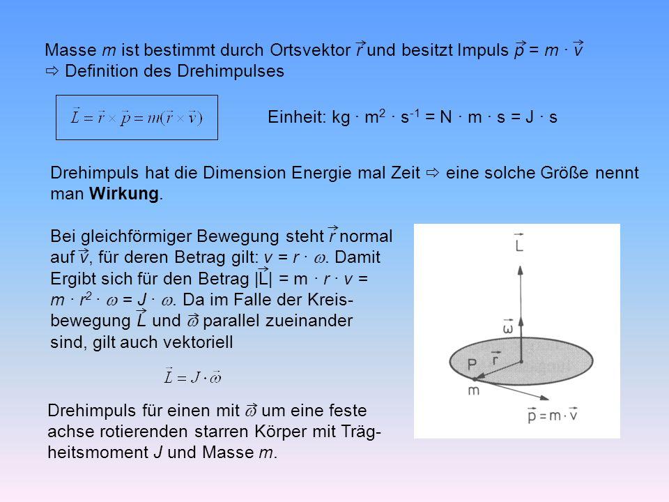 Masse m ist bestimmt durch Ortsvektor r und besitzt Impuls p = m · v Definition des Drehimpulses Einheit: kg · m 2 · s -1 = N · m · s = J · s Drehimpuls hat die Dimension Energie mal Zeit eine solche Größe nennt man Wirkung.