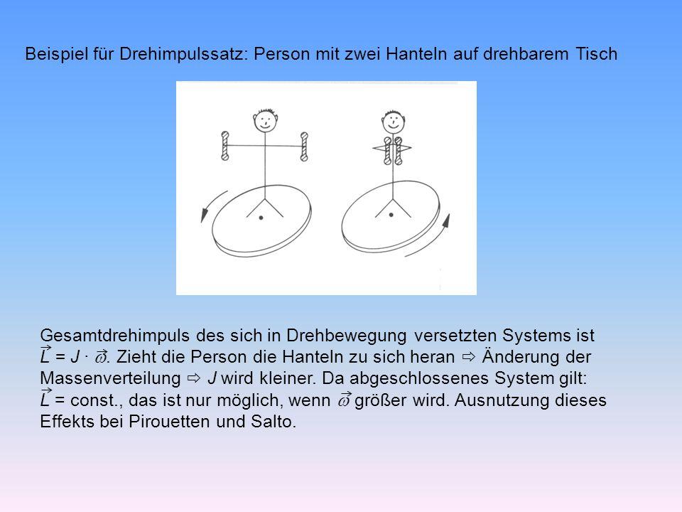Beispiel für Drehimpulssatz: Person mit zwei Hanteln auf drehbarem Tisch Gesamtdrehimpuls des sich in Drehbewegung versetzten Systems ist L = J ·.