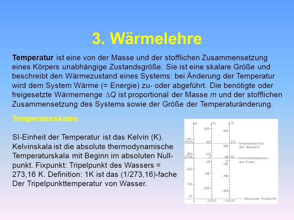 3. Wärmelehre Temperatur ist eine von der Masse und der stofflichen Zusammensetzung eines Körpers unabhängige Zustandsgröße. Sie ist eine skalare Größ