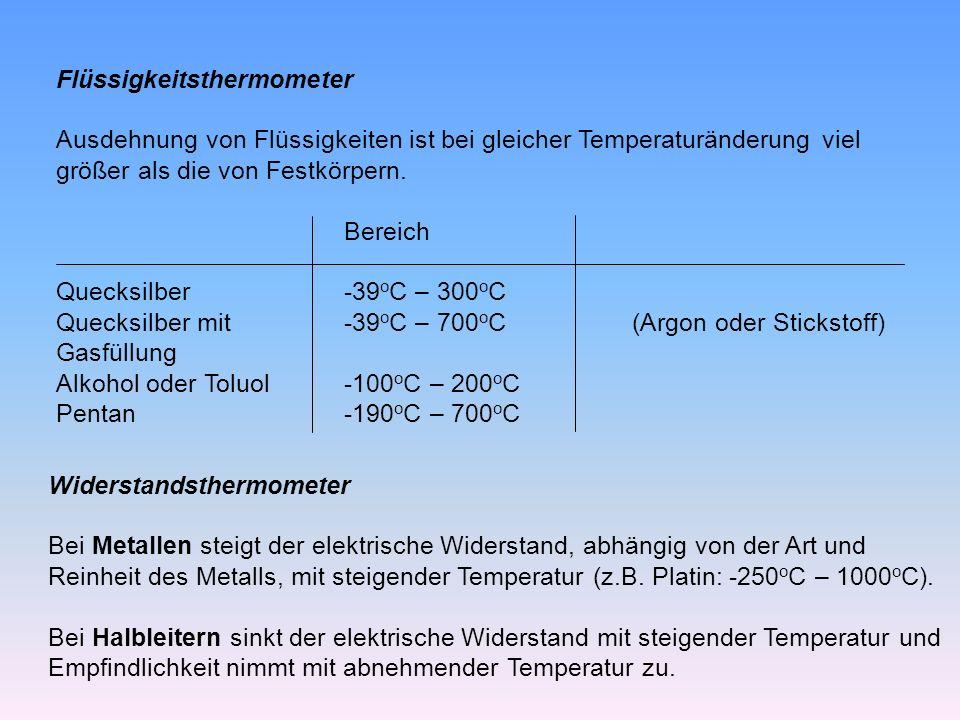 Flüssigkeitsthermometer Ausdehnung von Flüssigkeiten ist bei gleicher Temperaturänderung viel größer als die von Festkörpern.