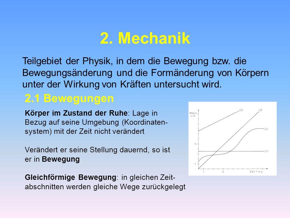 2.Mechanik Teilgebiet der Physik, in dem die Bewegung bzw.