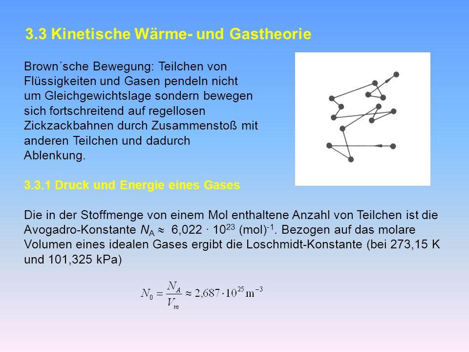 3.3 Kinetische Wärme- und Gastheorie Brown´sche Bewegung: Teilchen von Flüssigkeiten und Gasen pendeln nicht um Gleichgewichtslage sondern bewegen sich fortschreitend auf regellosen Zickzackbahnen durch Zusammenstoß mit anderen Teilchen und dadurch Ablenkung.